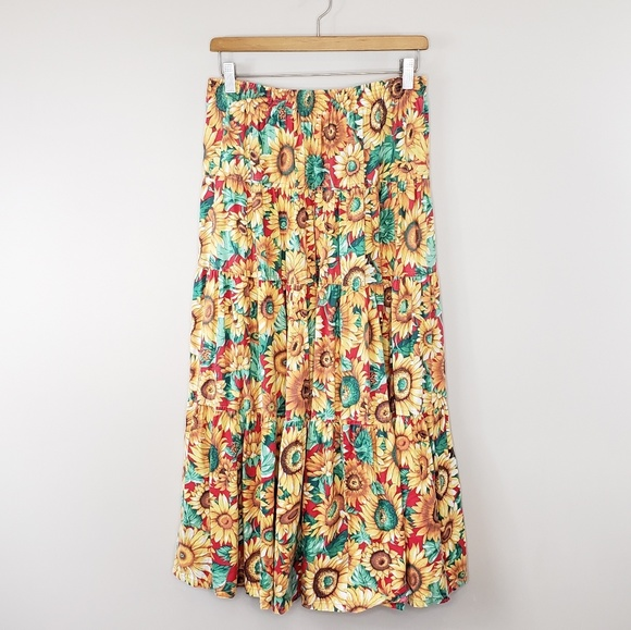 68cdcc102d9a4 Vintage Skirts | 90s Willowbend Sunflower Maxi Skirt | Poshmark
